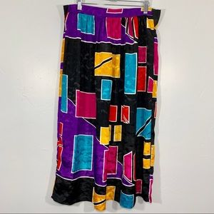 Vintage | 80's Geometric Colorful Midi Skirt